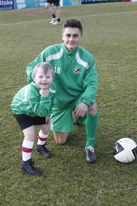 Adam as mascot at Nantwich Town FC with Caspar Hughes