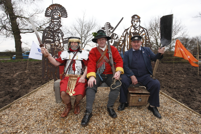 The soldier, Roman Centurion and train engineer on the Portrait Bench. Press Photography