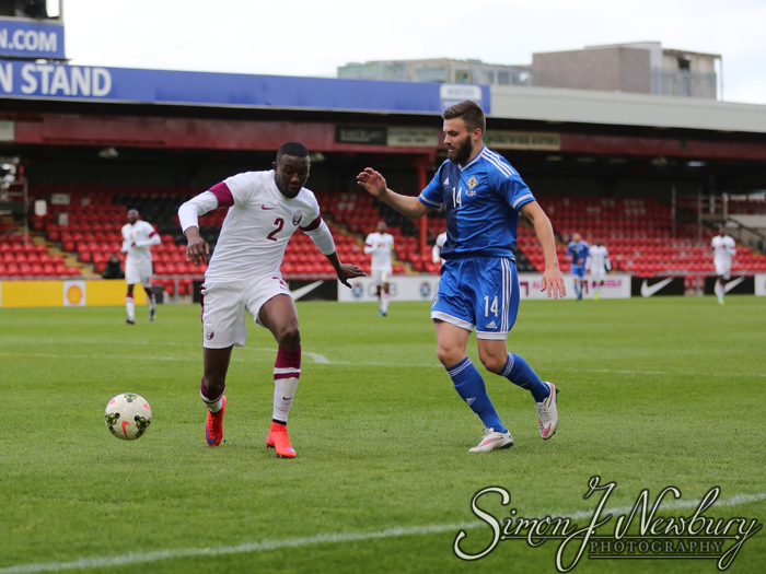 Press Photography: Qatar v Northern Ireland at Crewe Alexandra Football Club. International friendly football match in Crewe. Football photography Cheshire