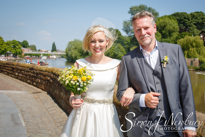 The Bride and her Father by the River Dee