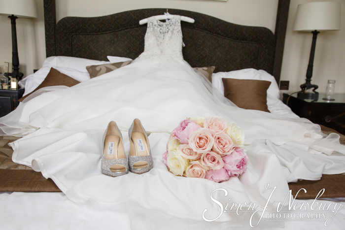 The Brides dress, bouquet and shoes