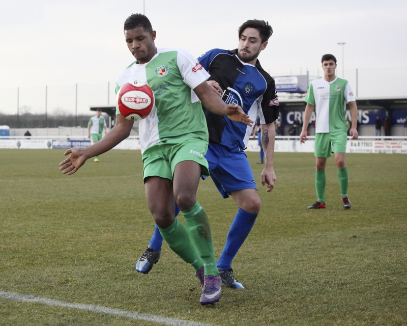 Aaron Cole in action for Nantwich Town against Ashton Utd